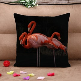 Unique Pink Flamingo Print Throw Pillow Case