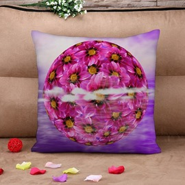 Blooming Purple Flower Print Throw Pillow Case