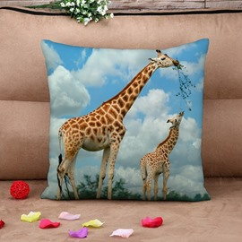 Giraffe Mother and Son Print Throw Pillow Case