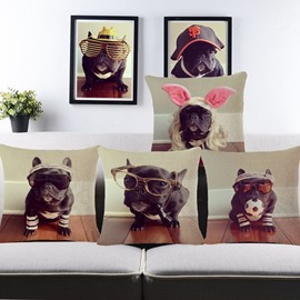 Interesting Bulldog Print Cotton Throw Pillow Case