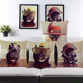 Likable Bulldog Print Decorative Throw Pillow Case