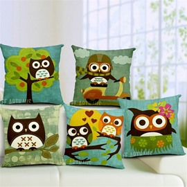 Pretty Cute Cartoon Owl Print Throw Pillow Case