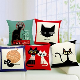 Likable Kitty/Cat Print Square Throw Pillow Case