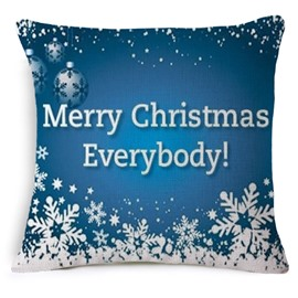 Merry Christmas Everybody Print Blue Throw Pillow Case
