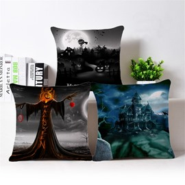 3D Happy Halloween Print Cotton Throw Pillow Case