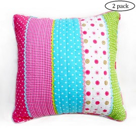 Fresh Style Patchwork 100% Cotton 2-Piece Throw Pillow Cases