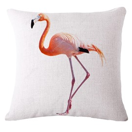 Simple Pink Flamingo Print White Throw Pillowcase