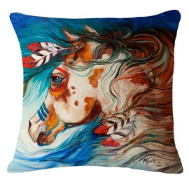 Artistic Colorful Horse Print Square Throw Pillowcase