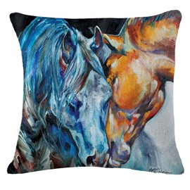 Heartwarming Couple Of Horses Print Throw Pillowcase