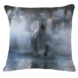 Amazing Horses Running and Splashing through Water Print Throw Pillowcase