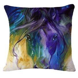 Beautiful Watercolor Horse Print Decorative Throw Pillowcase