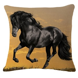 Lifelike 3D Black Horse Print Throw Pillowcase
