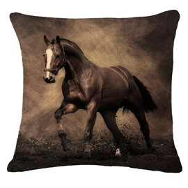Stunning 3D Brown Horse Print Throw Pillowcase