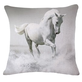Awesome 3D White Horse Printed Throw Pillowcase