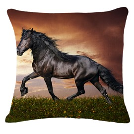 Vivid 3D Black Horse Print Square Throw Pillowcase