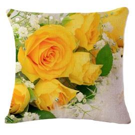 Likable Yellow Roses Print Square Throw Pillowcase