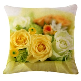 Sweet Yellow Rose Print Square Throw Pillowcase