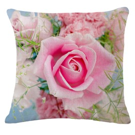 Lovely Blooming Pink Rose Print Square Throw Pillowcase