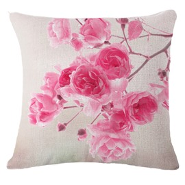 Beautiful Pink Flower Print Square Throw Pillowcase