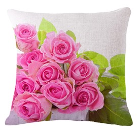 Elegant Pink Rose Print Square Throw Pillowcase