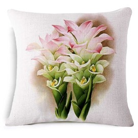 Elegant Curcuma Aromatica Print Square Throw Pillowcase