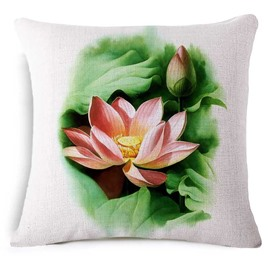 Divine Lotus Reactive Printing Square Throw Pillowcase