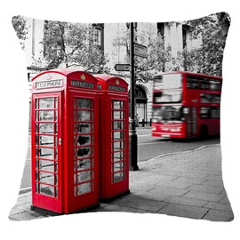British Style Telephone Booth Print Throw Pillowcase