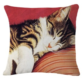 Adorable Sleeping Kitty/Cat Print Square Throw Pillowcase