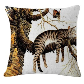 Cute Cat in a Tree Print Throw Pillowcase
