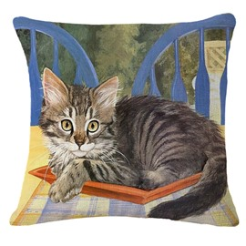 Cat/Kitten Sitting On Chair Print Throw Pillowcase
