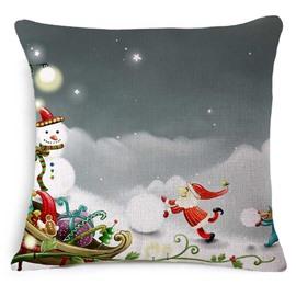 Joyful Santa Claus and Christmas Snowman Print Throw Pillowcase