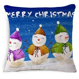 Cute Snowman with Merry Christmas Print Throw Pillowcase