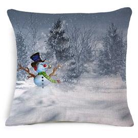 Likable Christmas Snowman Print Square Throw Pillowcase