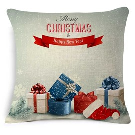 Decorative Christmas Gift Box Print Throw Pillowcase