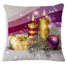 Ornate Christmas Candle and Decoration Print Purple Throw Pillowcase