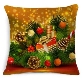 Bright Christmas Pine Cones and Gift Print Throw Pillowcase