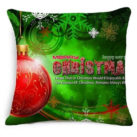 Green Merry Christmas Hanging Red Ornaments Print Throw Pillowcase