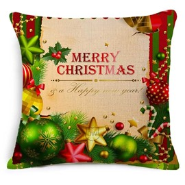Luxuriant Christmas Ornaments and Merry Christmas Print Throw Pillowcase