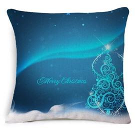 Very Merry Christmas Tree Print Blue Throw Pillowcase