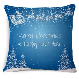 Classic Merry Christmas & Happy New Year Print Blue Throw Pillowcase