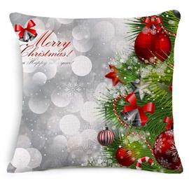 Green Christmas Tree and Shining Ball Print Throw Pillowcase