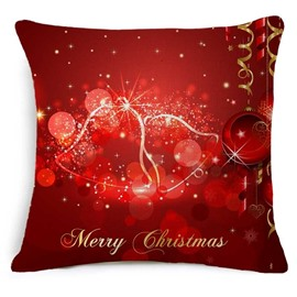 Festive Christmas Jingle Bell Print Red Throw Pillowcase