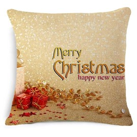Typography Merry Christmas and Gift Print Golden Throw Pillowcase