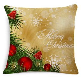 Rustic Holly and Merry Christmas Print Throw Pillowcase