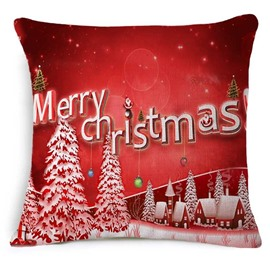 Snowy Village and Merry Christmas Decorative Red Throw Pillowcase