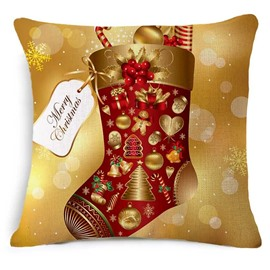 Superb Christmas Winter Stocking Print Square Throw Pillowcase