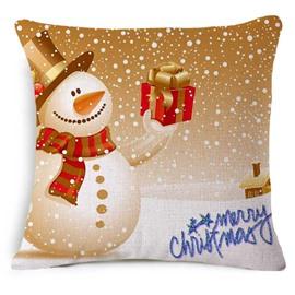 Cute Christmas Snowman Print Square Throw Pillowcase