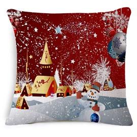 Lovely Christmas Snowman Print Decorative Throw Pillowcase