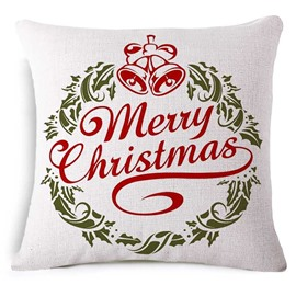 Personalised Merry Christmas Print White Square Throw Pillowcase