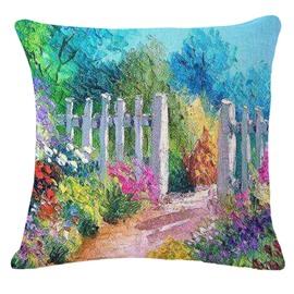 Rural Style Beautiful Path Print Decorative Throw Pillowcase